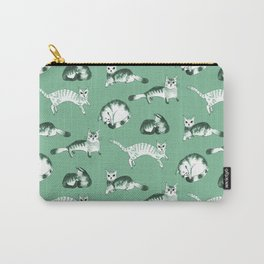 Cats, cats, cats pattern in green palette Carry-All Pouch