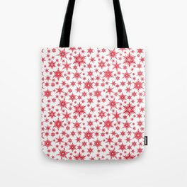 Red snowflakes on white. Tote Bag