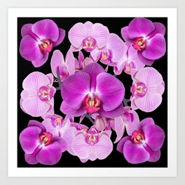 Modern  Ornate Pink & Purple  Moth Orchids Black Colored Art Art Print