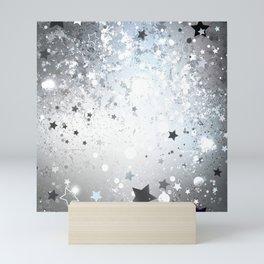 Silver Background with Stars Mini Art Print