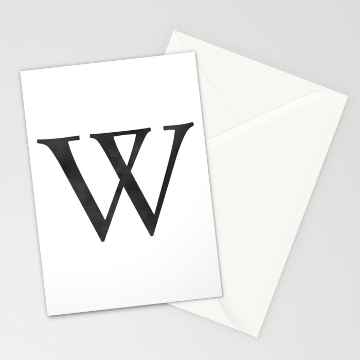 Letter W Initial Monogram Black and White Stationery Cards