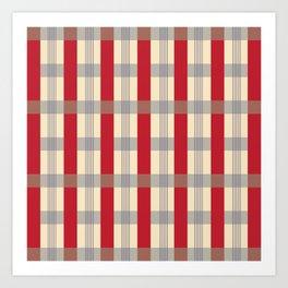Red Striped Plaid Art Print