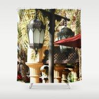 arab Shower Curtains featuring Dubai Lamps outside Burj Al Arab by gdesai