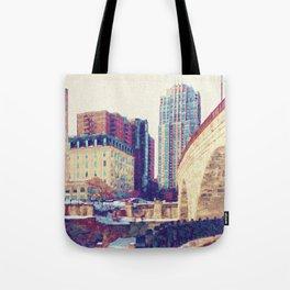 Minneapolis, Minnesota Skyline Stone Arch Bridge Tote Bag