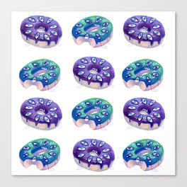 Crying donut pattern Canvas Print