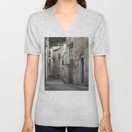 Sicilian Alley in Caltabellotta Unisex V-Neck
