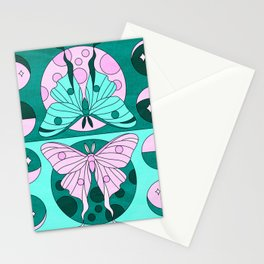 Luna Moth Phases - Teal Stationery Cards