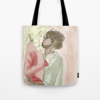 les miserables Tote Bags featuring exr kiss les miserables by Pruoviare