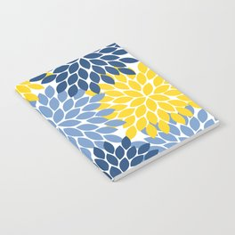 Blue Yellow Flower Burst Floral Pattern Notebook