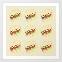 hamburger Art Prints featuring Hamburger by Berta Merlotte