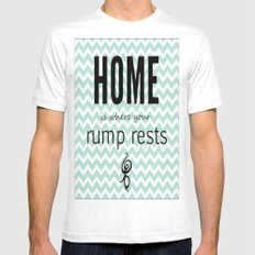 Home is where your rump rests White MEDIUM Mens Fitted Tee