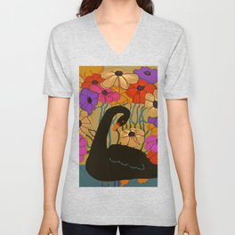 Swan Swimming Through Flowers Unisex V-Neck