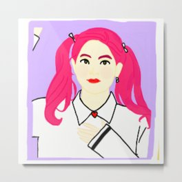 Knock Knock! Dahyun Purple Metal Print