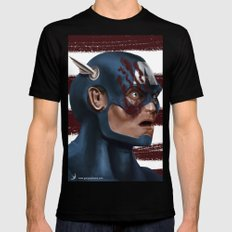 THE FACE COLLECTION - CAPTAIN AMERICA Mens Fitted Tee X-LARGE Black