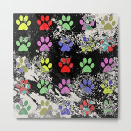 Paw Prints Pattern III - Textured Metal Print