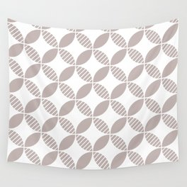 Mid Century Modern Geometric Flower Pattern Warm Gray Wall Tapestry