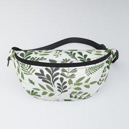 Botanical Leaf and Berries Homeware Print Pattern - White Fanny Pack