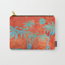 Tropical sunset with blue palm trees Carry-All Pouch