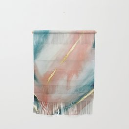 Celestial [3]: a minimal abstract mixed-media piece in Pink, Blue, and gold by Alyssa Hamilton Art Wall Hanging