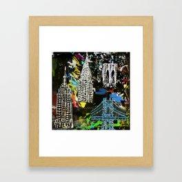 New York City Buildings at Night Framed Art Print