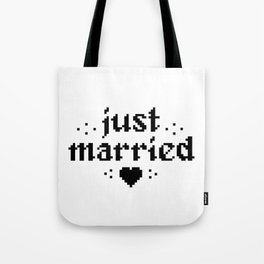 just married couple wedding gift pixel heart Tote Bag