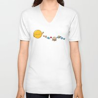 planets V-neck T-shirts featuring Planets by awkwardyeti