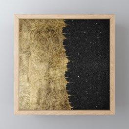 Faux Gold and Black Starry Night Brushstrokes Framed Mini Art Print