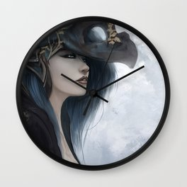 Bluish Black - Mysterious fantasy mage girl portrait Wall Clock