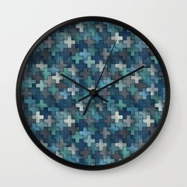 Watercolor cross tiles in navy blue and turquoise Wall Clock