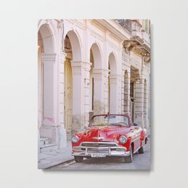 Vintage Red Car, Havana Travel Photography Metal Print