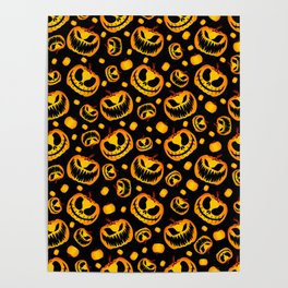 Orange Festive Scary and Spooky Halloween Pumpkins Poster