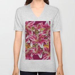 BURGUNDY GARDEN ASIAN LILY FLOWERS FLORAL ART Unisex V-Neck