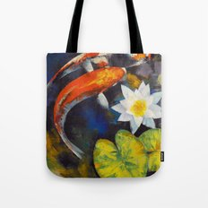 Koi Fish and Water Lily Tote Bag