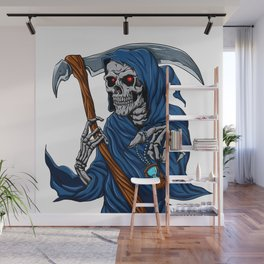 Reaper grim with Hourglass - ghost skull - black and white Wall Mural