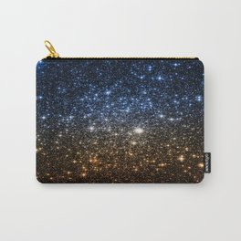 Galaxy Sparkle Stars Blue to Golden Bronze Ombre Carry-All Pouch