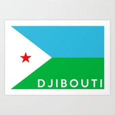 Djibouti country flag name text Art Print