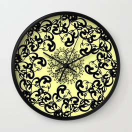 black florid pattern. black florid pattern on pale yellow background Wall Clock