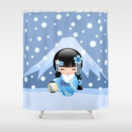 Japanese Winter Kokeshi Doll at Blue Mountain Shower Curtain