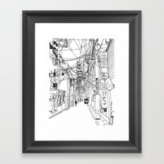 Osaka - downtown street Framed Art Print