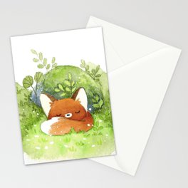 Little fox sleeping Stationery Cards