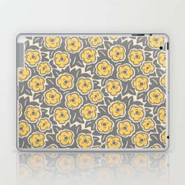 Flower Bouquet Pattern Gray and Yellow Laptop & iPad Skin