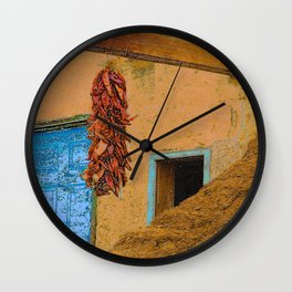 An Adobe Dwelling in the Pueblo of Taos, New Mexico Wall Clock