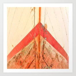 Orange Boat Hull Wooden Boats Fishing Fisherman Seafood Painted Wood Vintage Weathered Nautical Beac Art Print