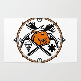 Angry Moose Crossed Ice Pick Axe Pararescue Mascot Rug