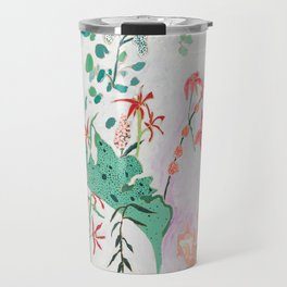 Abstract Jungle Floral on Pink and White Travel Mug