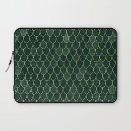 Mermaid Fin Pattern // Emerald Green Gold Glittery Scale Watercolor Bedspread Home Decor Laptop Sleeve