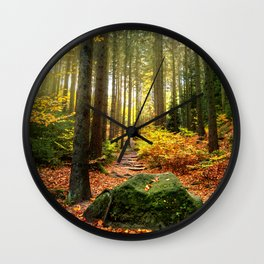 Path Through The Trees - Landscape Nature Photography Wall Clock
