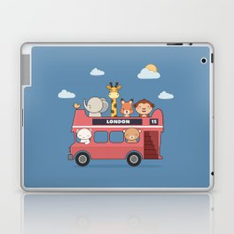Kawaii Cute Zoo Animals On A London Bus Laptop & iPad Skin
