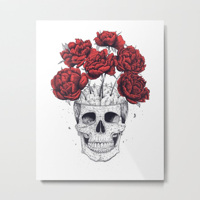 Skull with peonies Metal Print