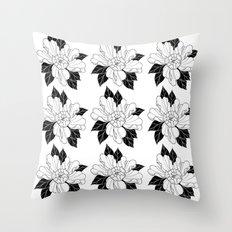 Black Leaf Flower Throw Pillow